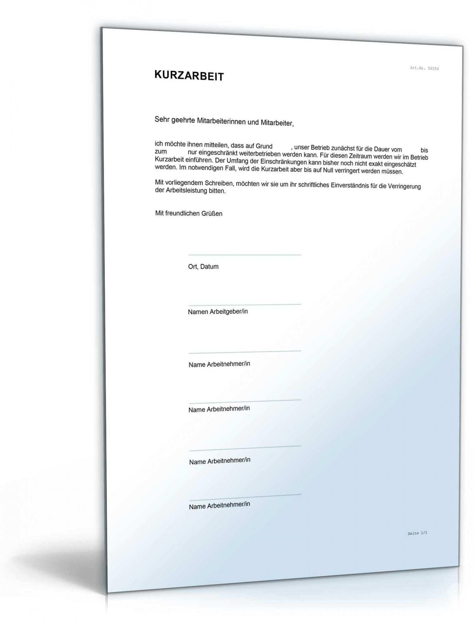 Durchsuche Unsere Druckbar Von Vereinbarung Arbeitnehmer Kurzarbeit Vorlage Vorlagen Vereinbarung Arbeit