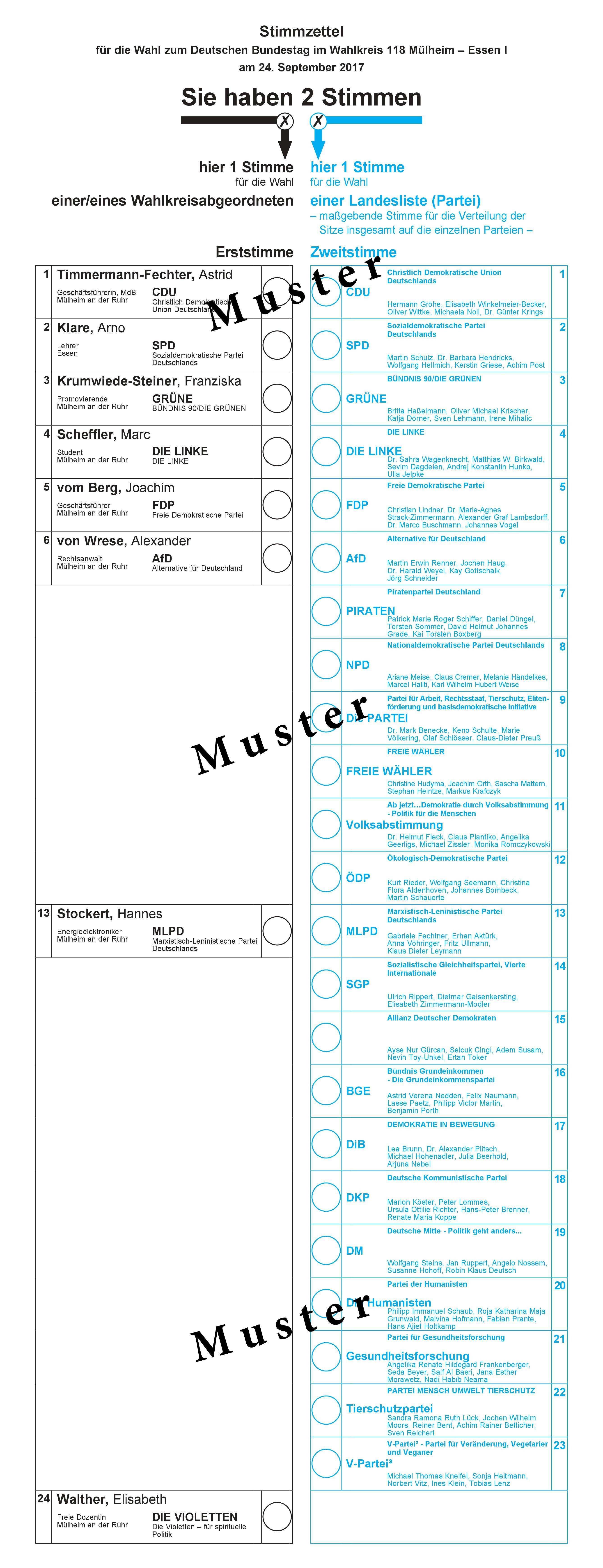 Datei Stimmzettel Bundestagswahl 2017 Wahlkreis 118 Jpg Wikipedia