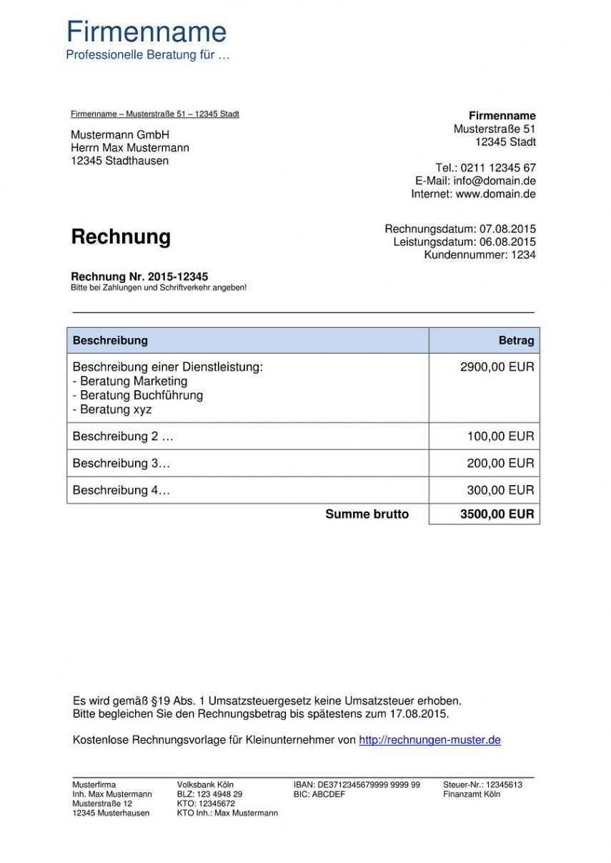Blattern Unsere Das Beispiel Von Rechnung Mit Steuernummer Vorlage Rechnung Vorlage Rechnungsvorlage Vorlagen