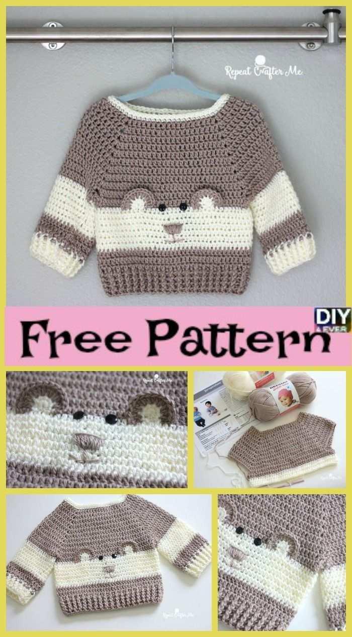 Hakeln Sie Baby Bear Sweater Kostenlose Muster Freepattern Hakeln Source By Jasminum03 Baby Hakeln Hakeln Baby Baby Pullover