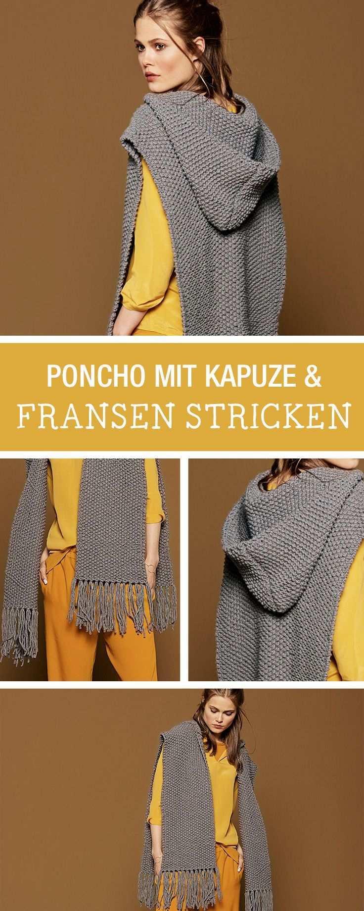 Kits Zum Stricken Etsy De Poncho Mit Kapuze Kapuze Stricken Poncho