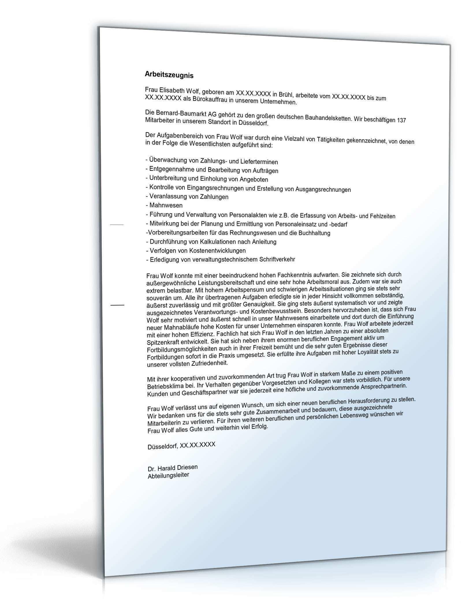 Arbeitszeugnis Burokauffrau Muster Zum Sofort Download