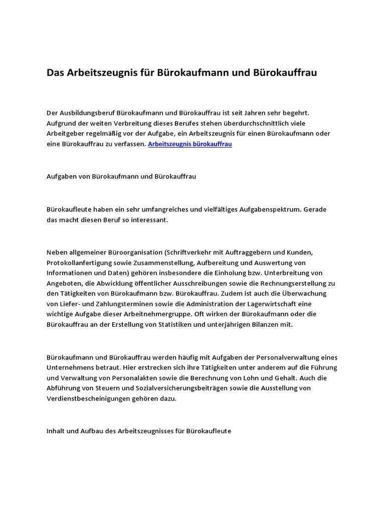 Das Arbeitszeugnis Fur Burokaufmann Und Burokauffrau