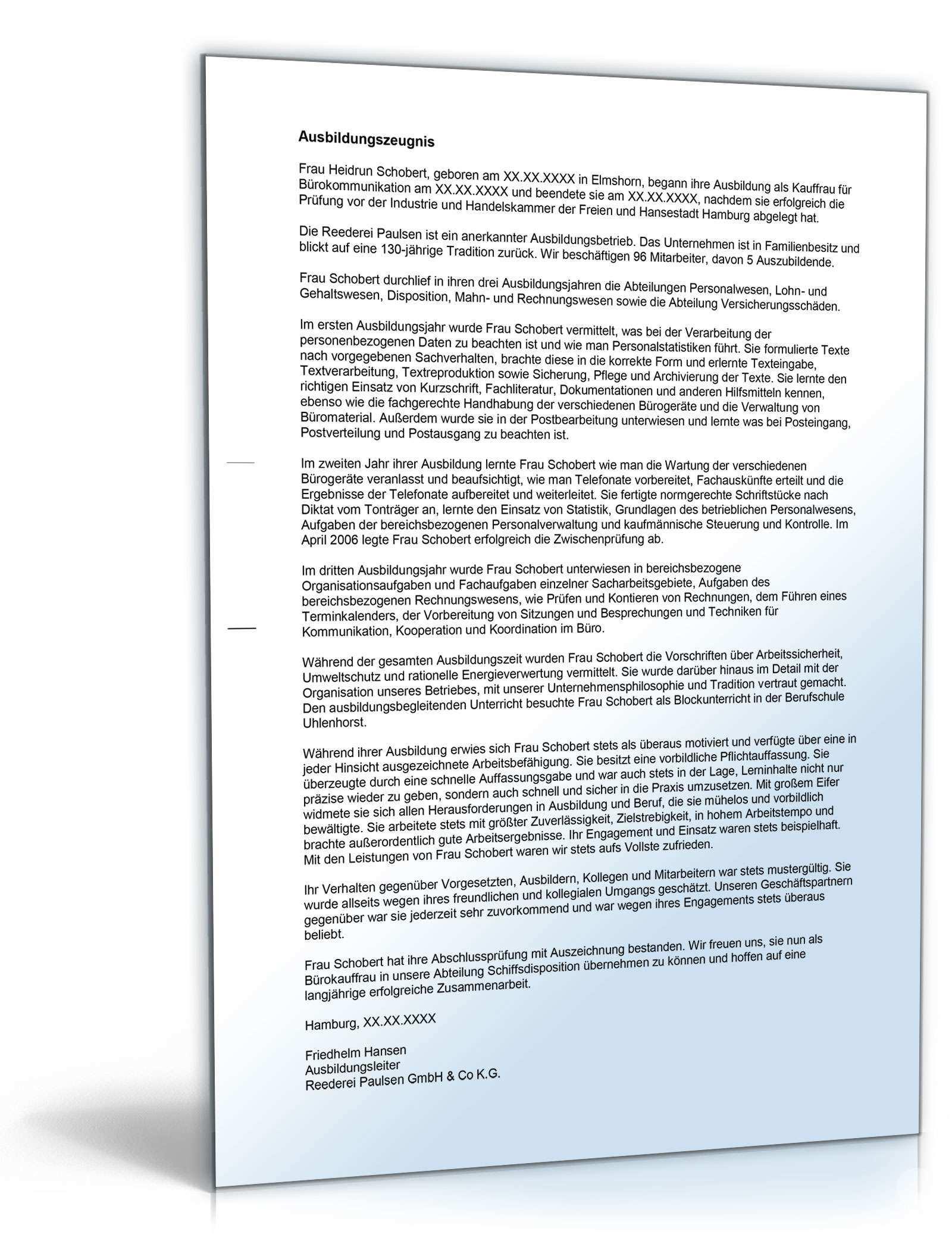 Ausbildungszeugnis Burokauffrau Muster Zum Download