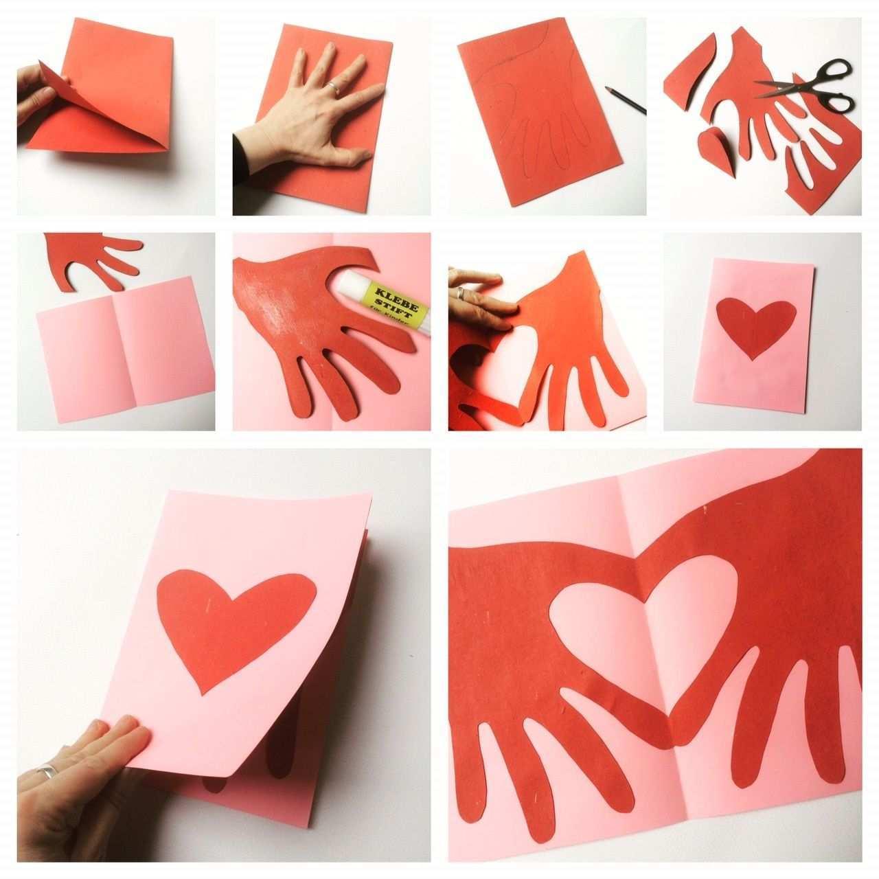 Herzhande Klappkarte Muttertag Basteln Muttertag Geschenke Basteln Valentinstag Basteln