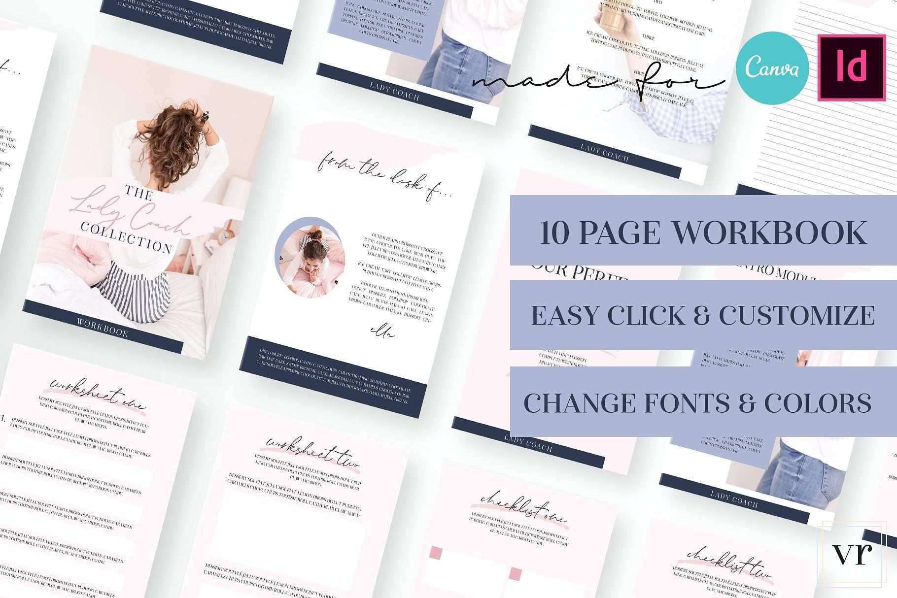 Lady Coach Workbook Canva Indesign Workbook Template Workbook Design Workbook