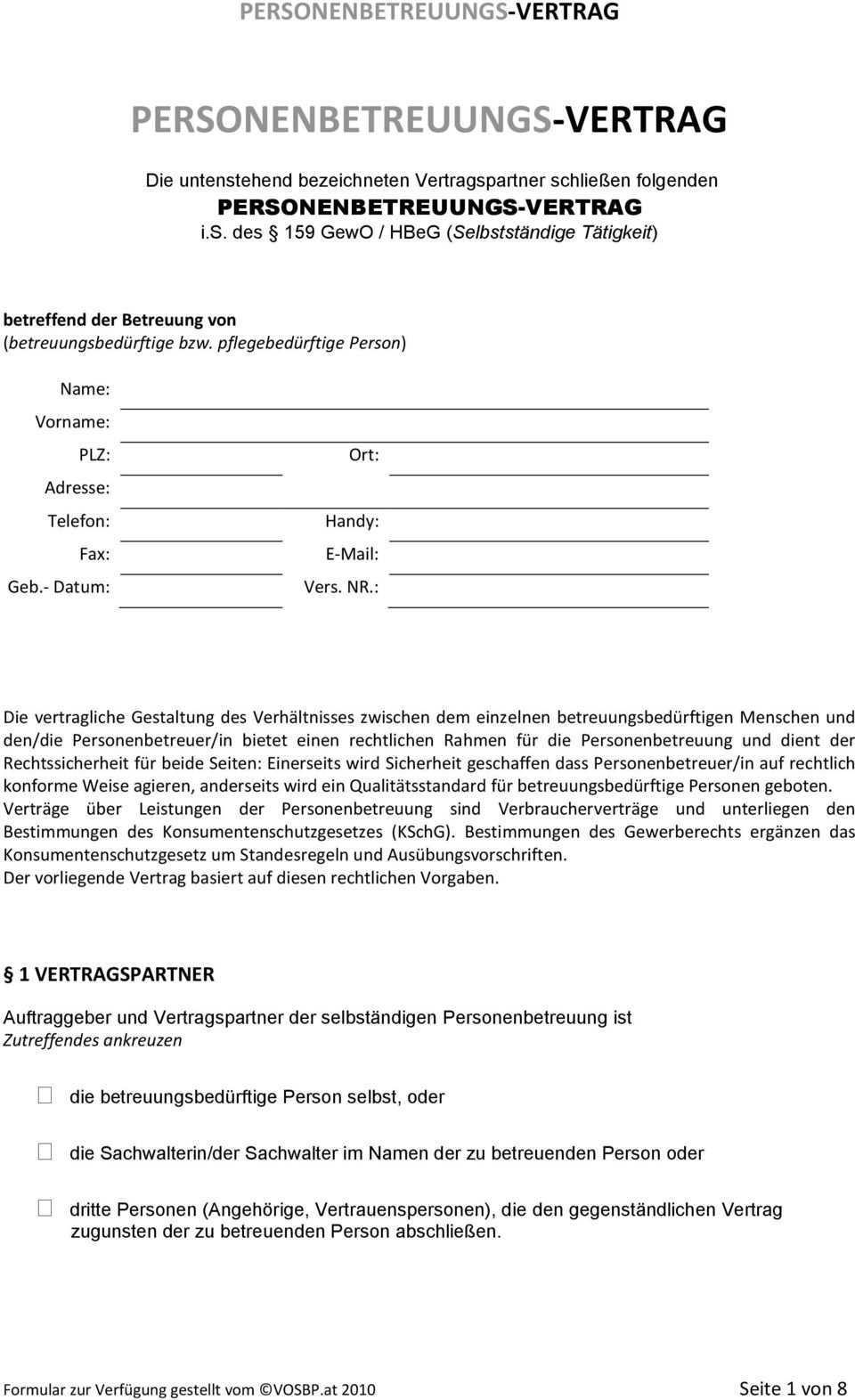Personenbetreuungs Vertrag Pdf Free Download