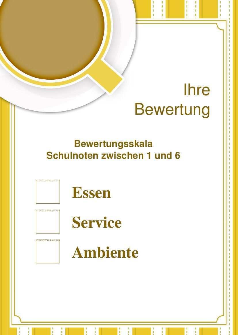 Hiermit Kann Ihr Restaurant Bzw Bistro Bwertet Werden Flyer Vorlage Bewertungsskala Schulnoten