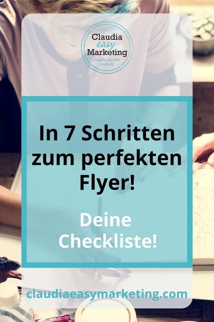 7 Schritte Flyer Checkliste Claudia Easy Marketing Marketing Checkliste Flyer