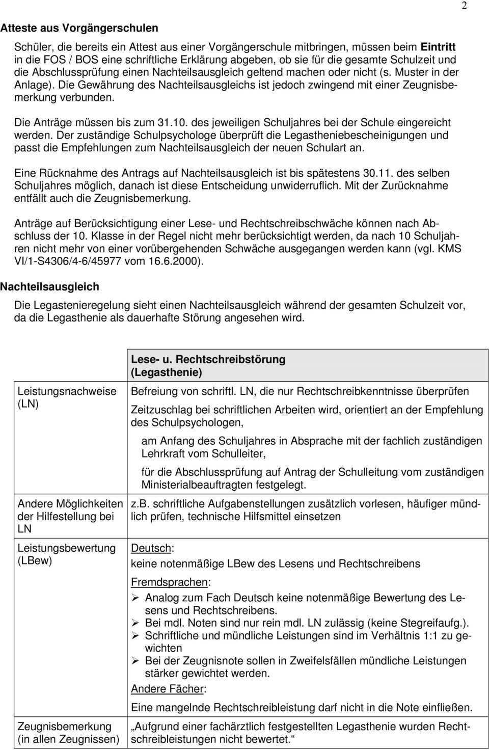 Informationen Zur Anerkennung Einer Legasthenie An Fachoberschulen Und Berufsoberschulen Verfahrensweise In Sudbayern Pdf Free Download