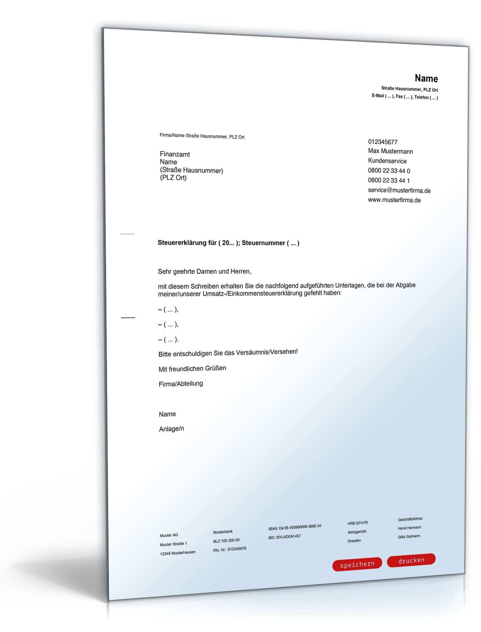 Begleitschreiben Zur Steuererklarung Vorlage Zum Download