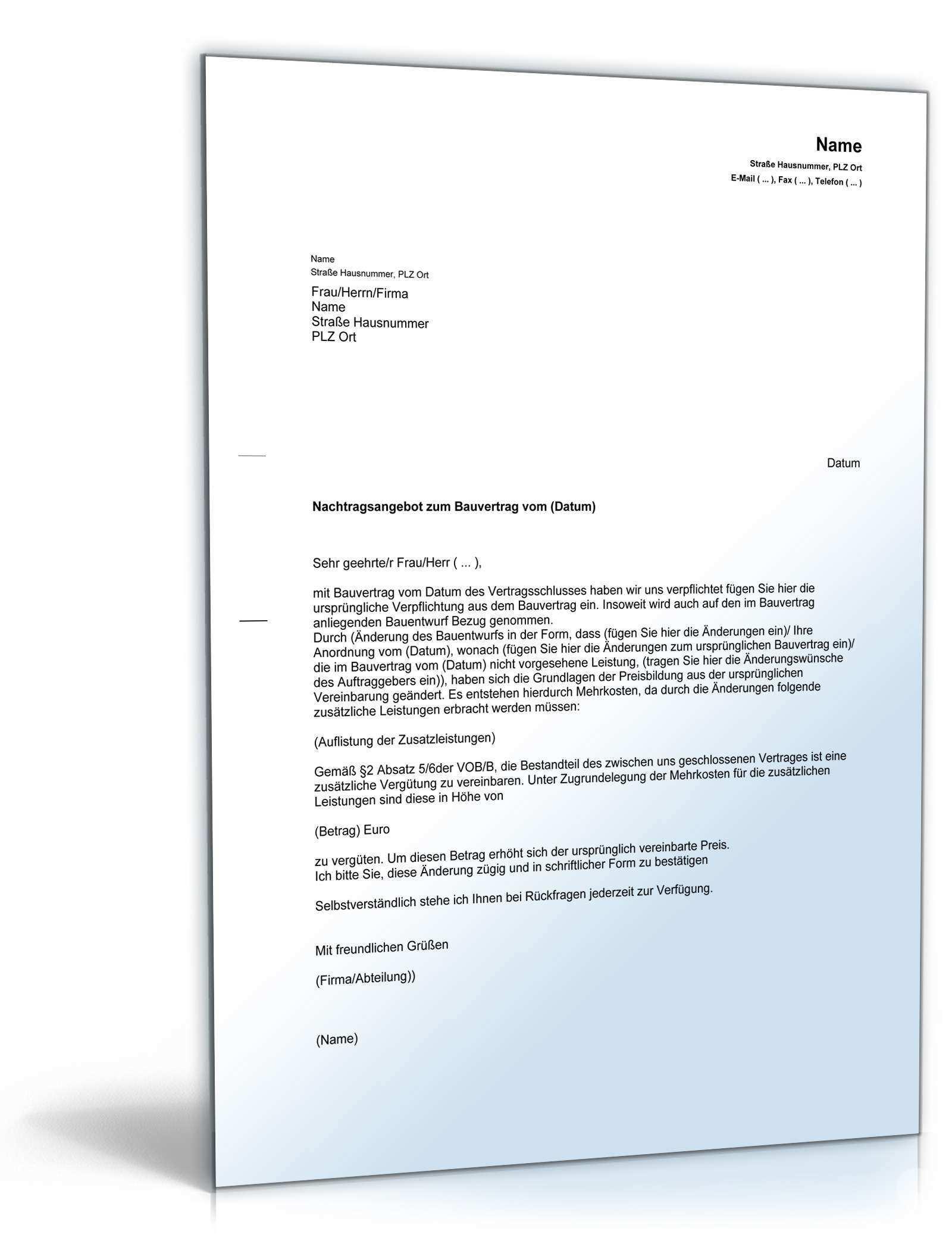 Nachtragsangebot Bauunternehmer Vorlage Zum Download