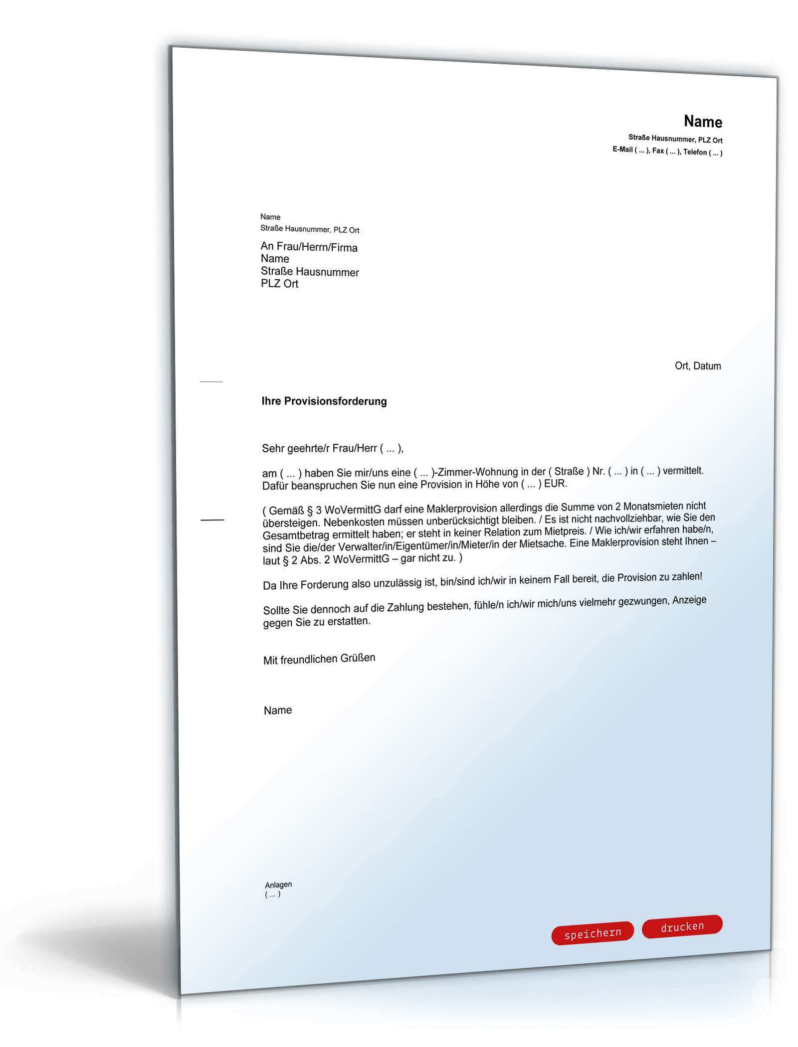 Verweigerung Zahlung Von Maklerprovision Muster Zum Download