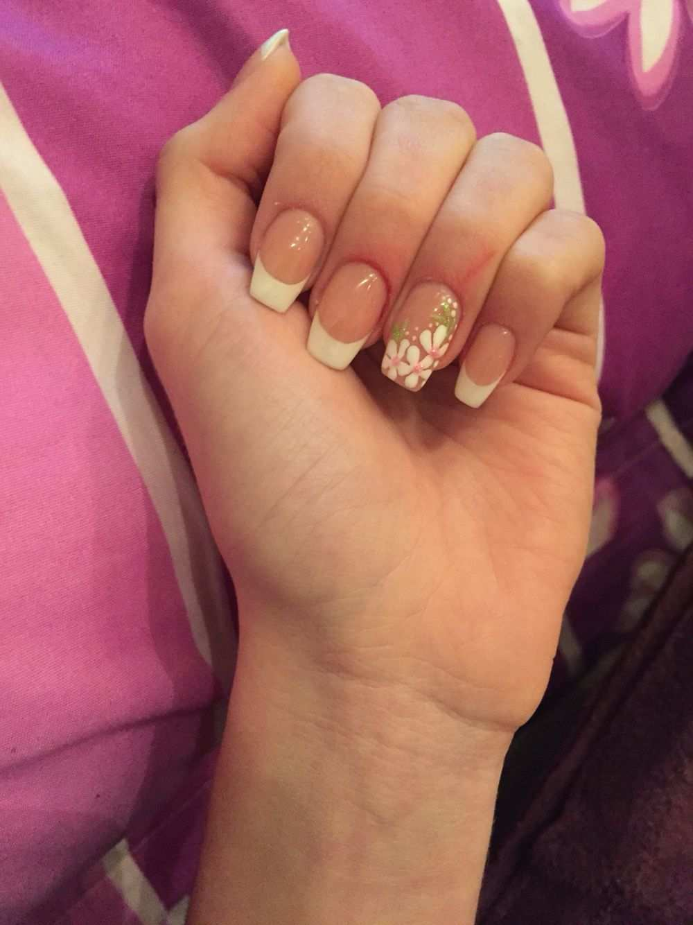 French Eckig Weiss Blumen Muster Nagel Gel Ring Verlobung Verlobungsring French Nails