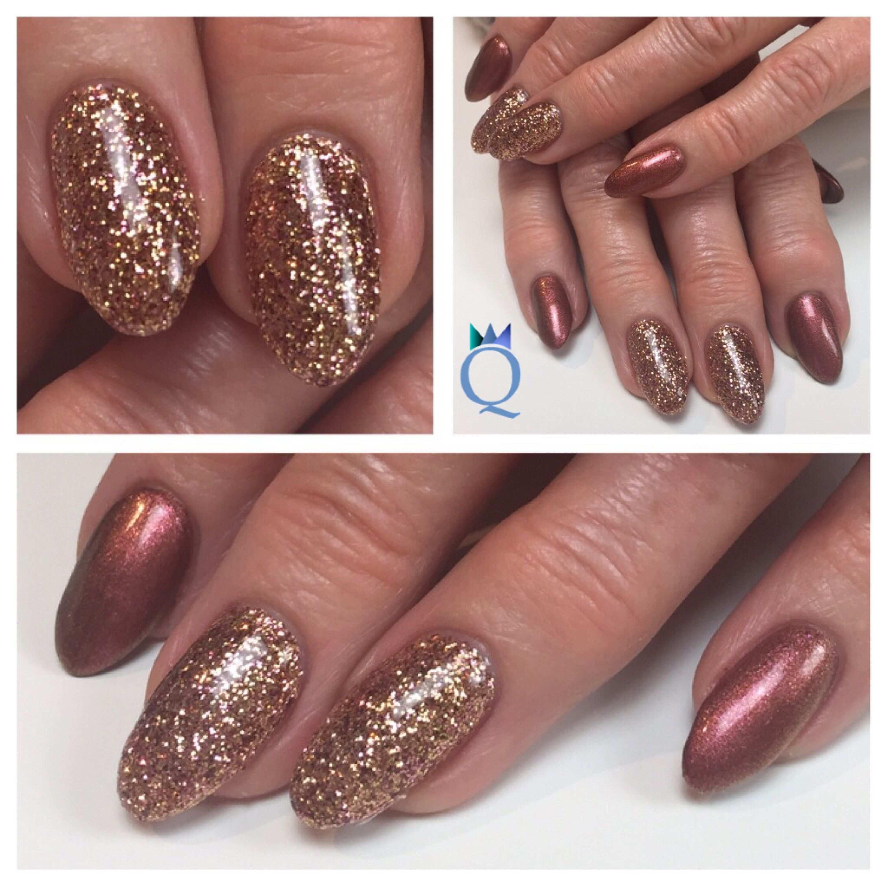 Almondnails Gelnails Nails Rosegold Glitter Red Copper Mandelform Gelnagel Nagel Rosegold Glitzer Rot Kupfer Nagels Nails Nail Art Acrylic Nails