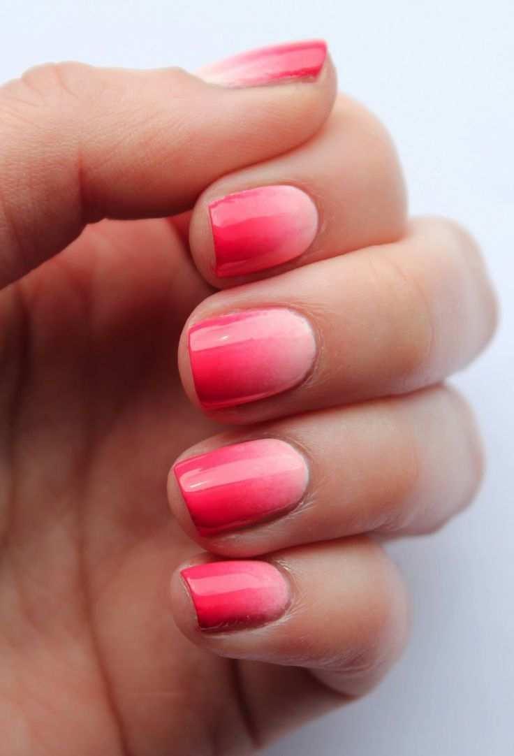 Ombre Nagel Selber Gestalten Rosa Pink Kuerze Naegel Nageldesign Nagel Mit Farbverlauf Pinke Nagel
