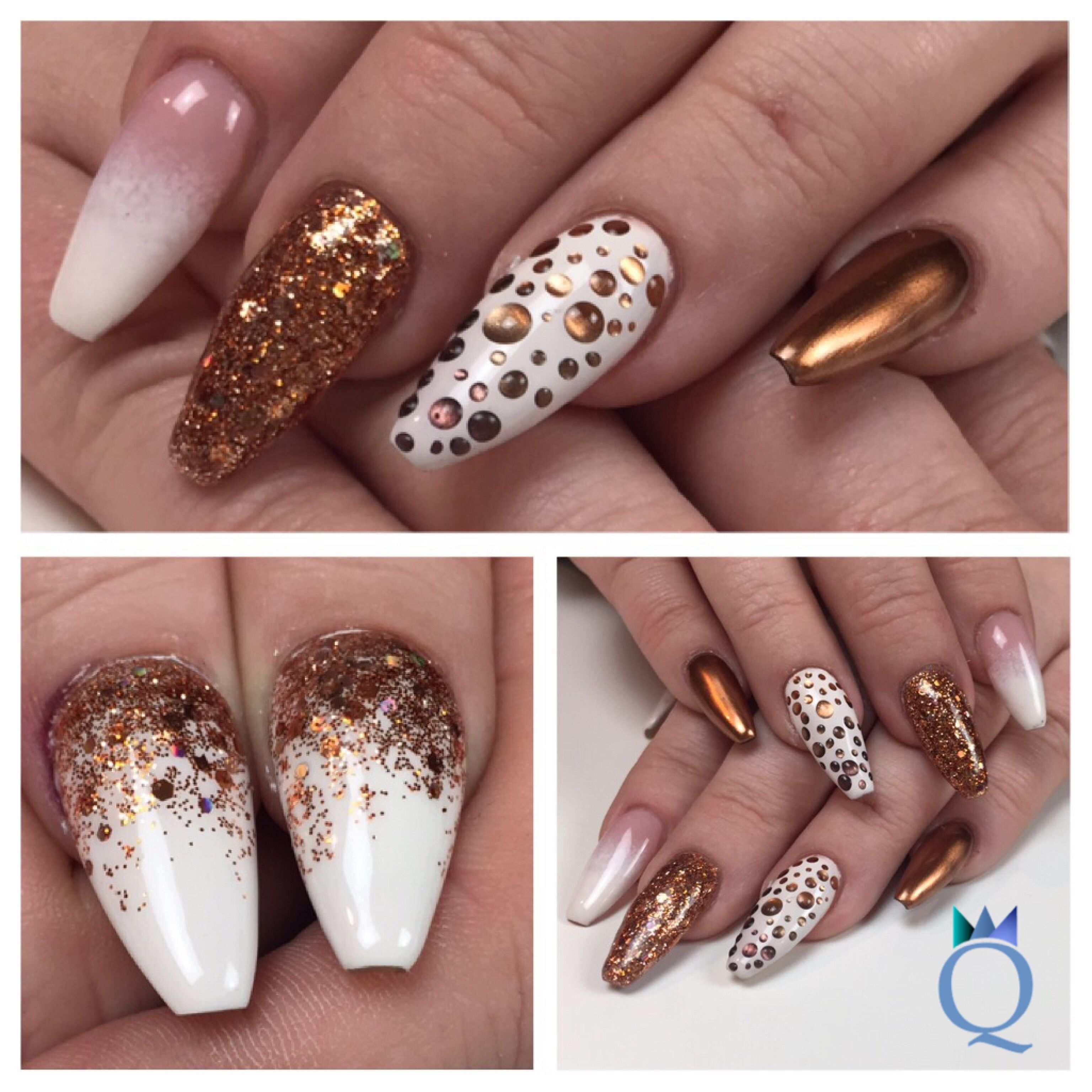 Coffinshape Ballerinanails Longnails Gelnails Nails White Copper Metallic Dots Ballerina Form Langenagel Ge Gel Nails French White Nails Gel Nails