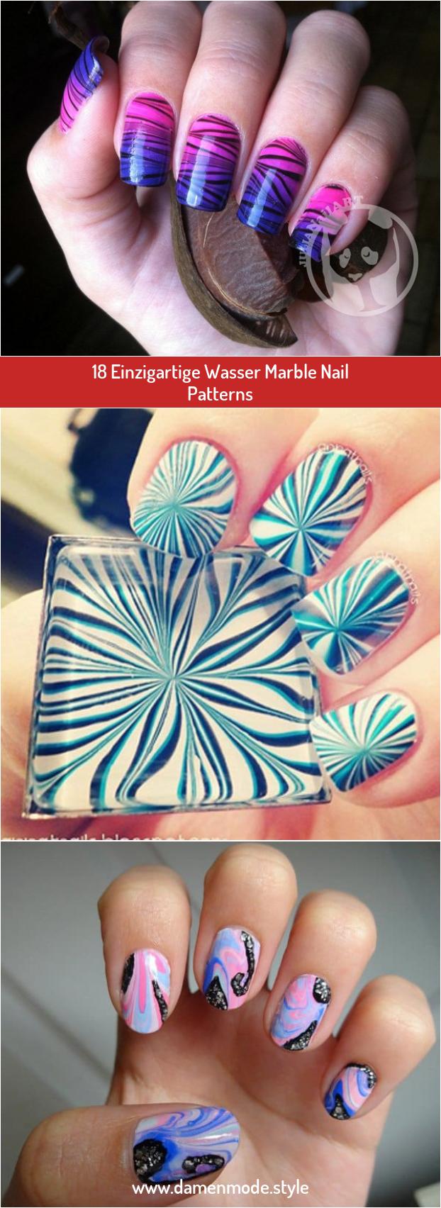 18 Einzigartige Wasser Marble Nail Patterns In 2020 Nagellack Im Wasser Einzigartig Nagellack