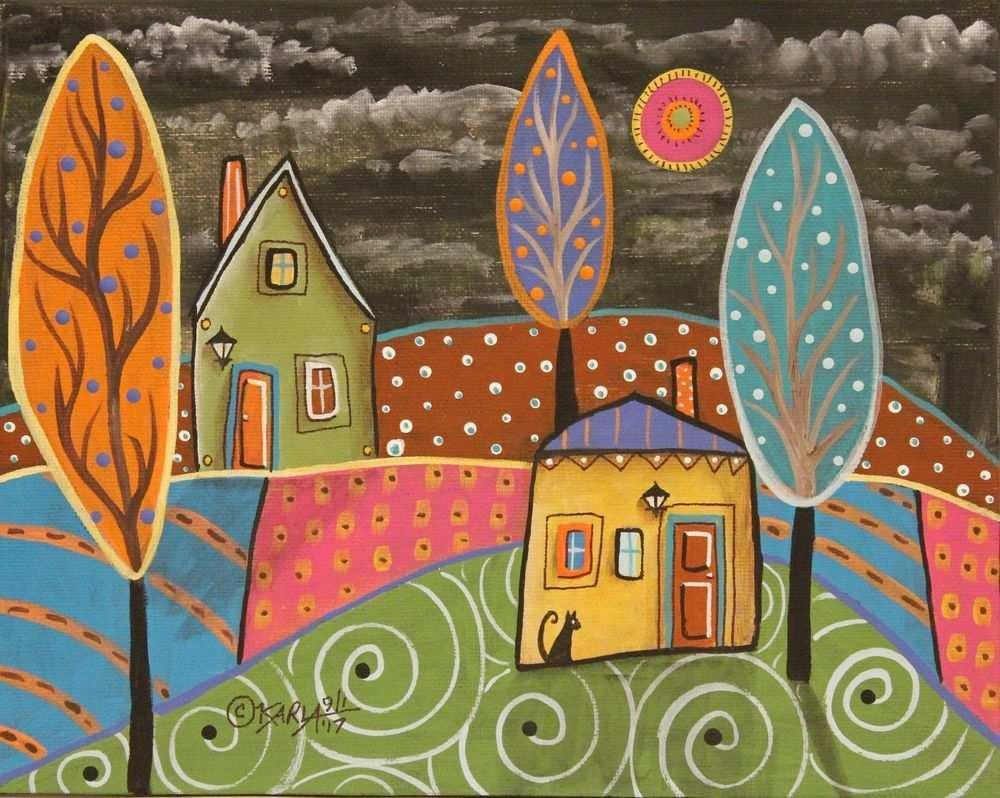 Cool Nights Orig Canvas Panel Painting Folk Art Houses Cat 8 X 10 Karla Gerard Modern Folk Art Folk Art Art