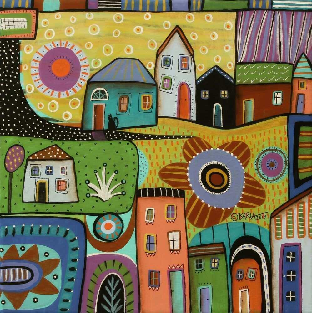 Around The Block 12 X 12 X 3 4 Orig Canvas Painting Folk Art Prim Karla Gerard Folkartabstractprimitive Canvas Painting Art Lessons Art