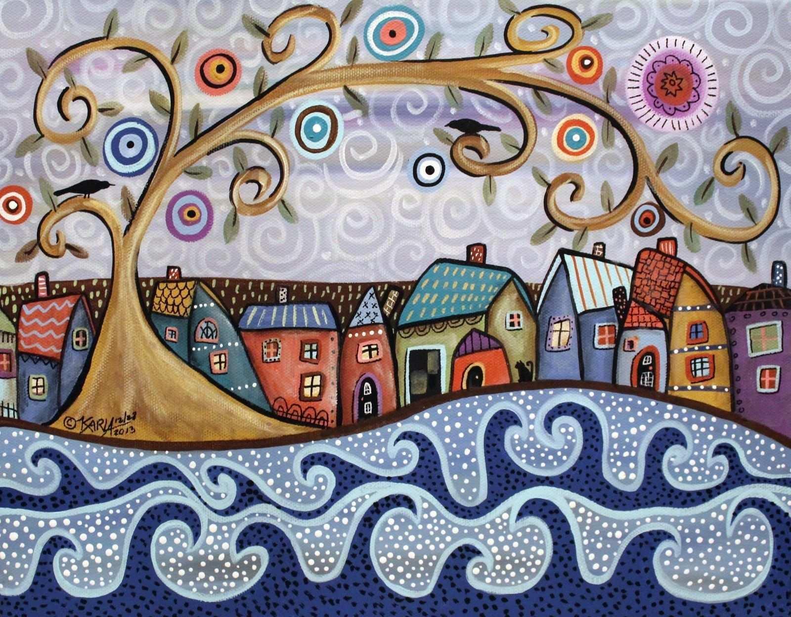 Rug Hook Paper Pattern By The Sea Folk Art Abstract Primitive Karla Gerard Volkstumliche Kunstgemalde Kunstproduktion Kunstmalerei