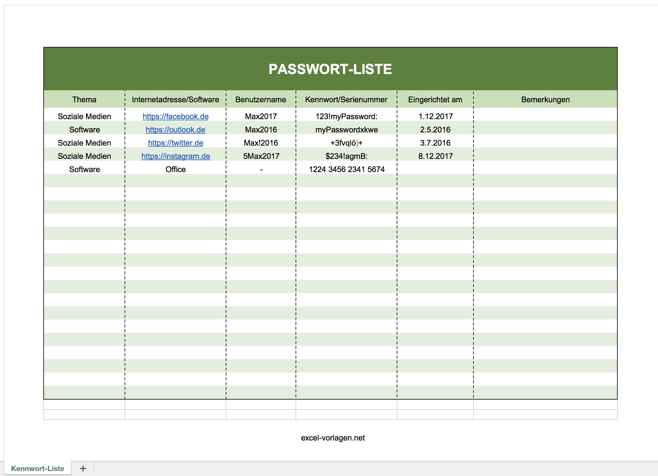 Passwort Liste Mit Excel