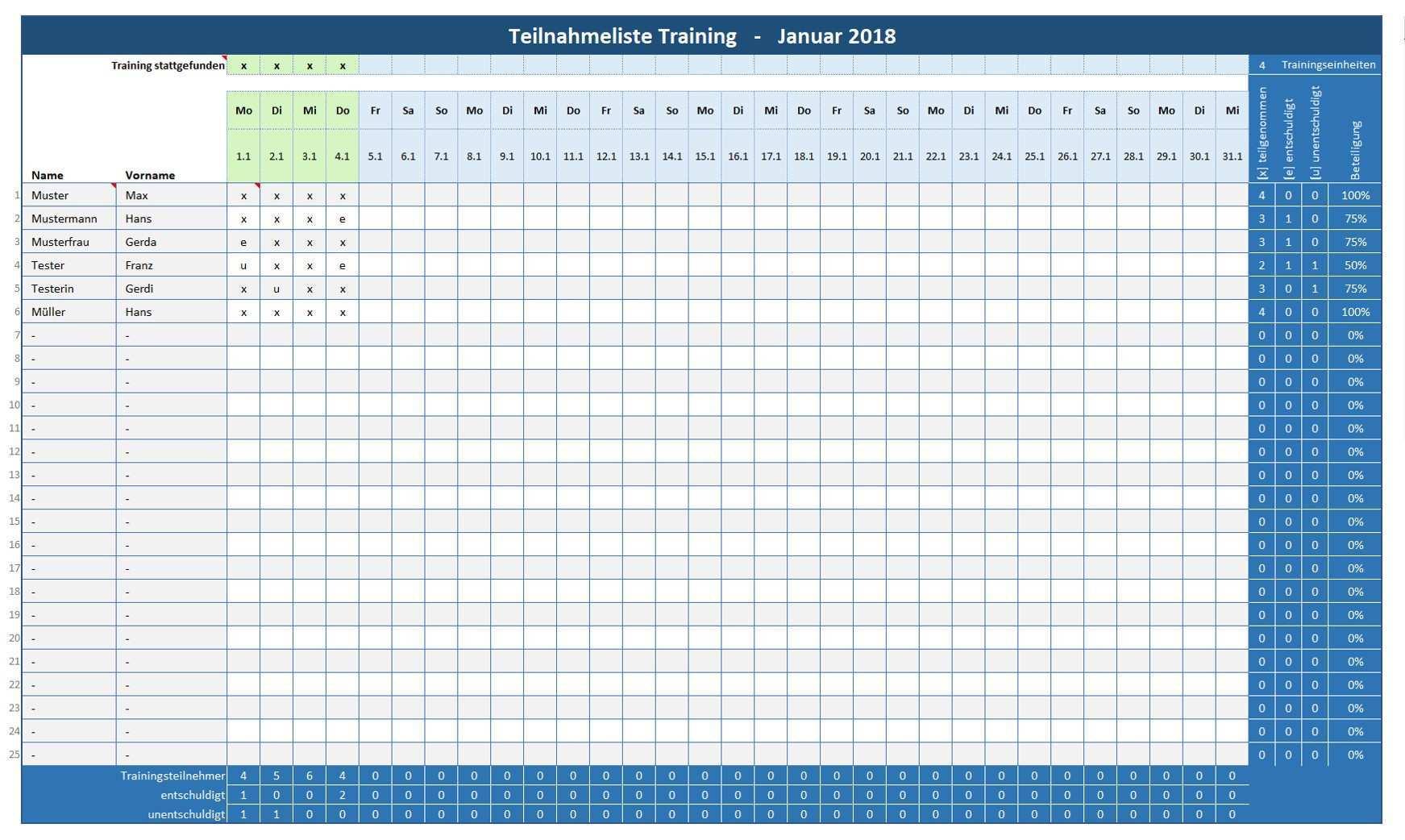 Anwesenheitsliste Training Teilnehmerliste Training Alle Meine Vorlagen De