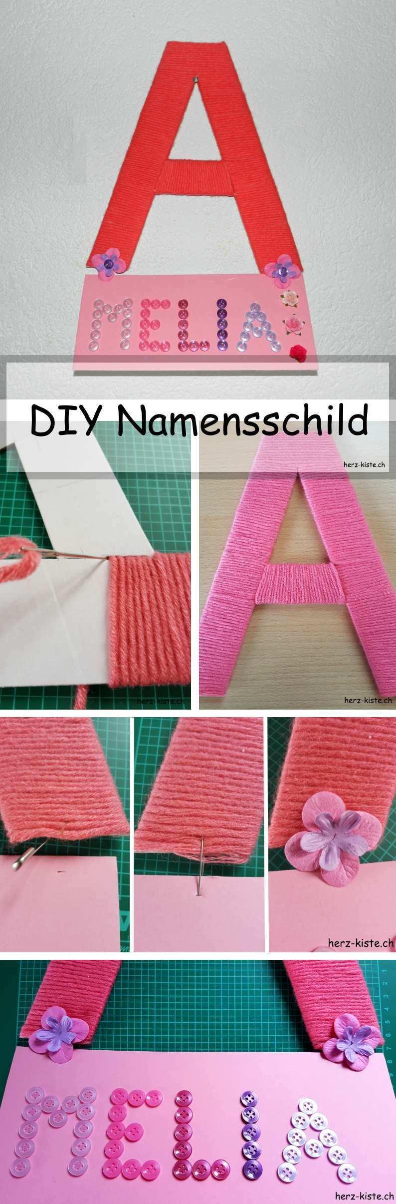 Diy Namensschild Furs Kinderzimmer Namensschild Kinderzimmer Diy Geschenke Baby Karton Buchstaben