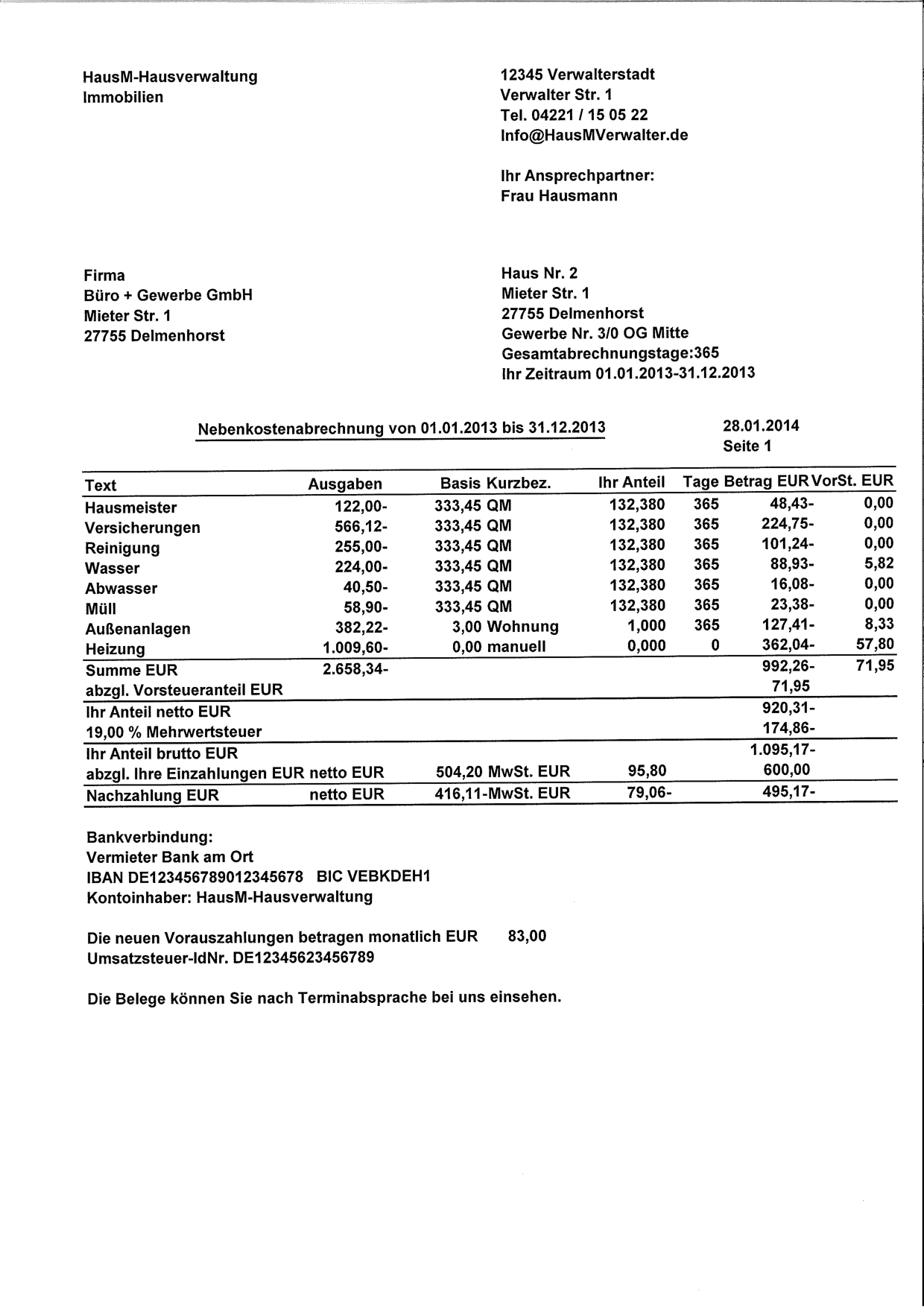 Muster Einer Nebenkostenabrechnung Fur Gewerbe Kostenlos