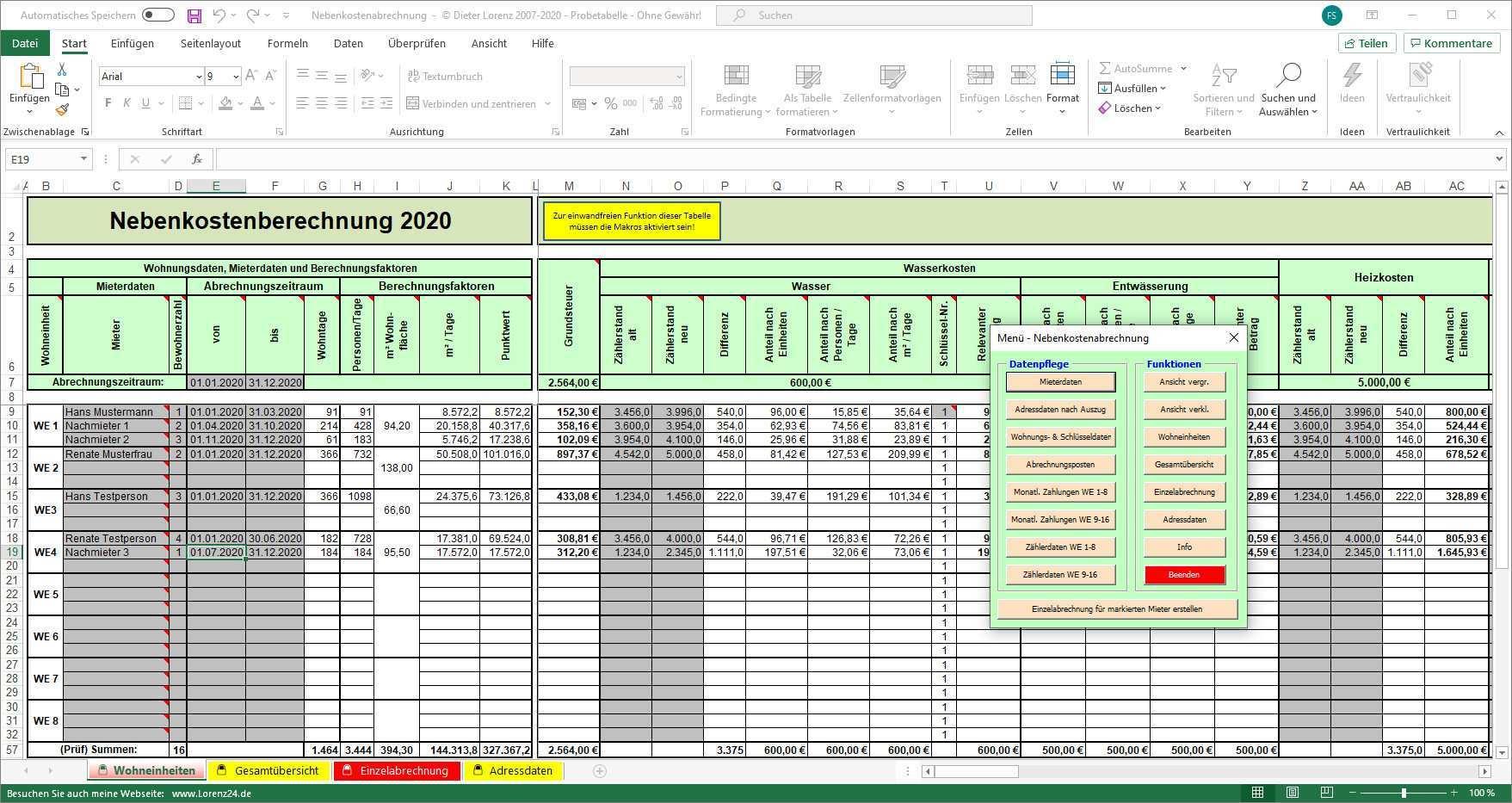 Nebenkostenabrechnung Excel Vorlage Download Computer Bild