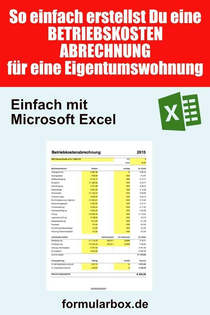 Betriebskosten Nebenkosten Abrechnung Mit Excel Erstellen In 2020 Excel Vorlage Nebenkostenabrechnung Betriebskostenabrechnung