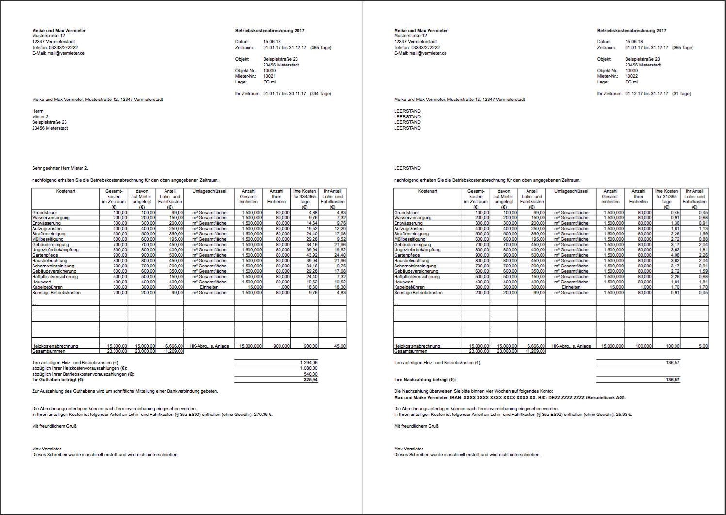 Vorlage Nebenkostenabrechnung In Excel Bis Zu 100 Mieter Vollautomatisch Abrechnen