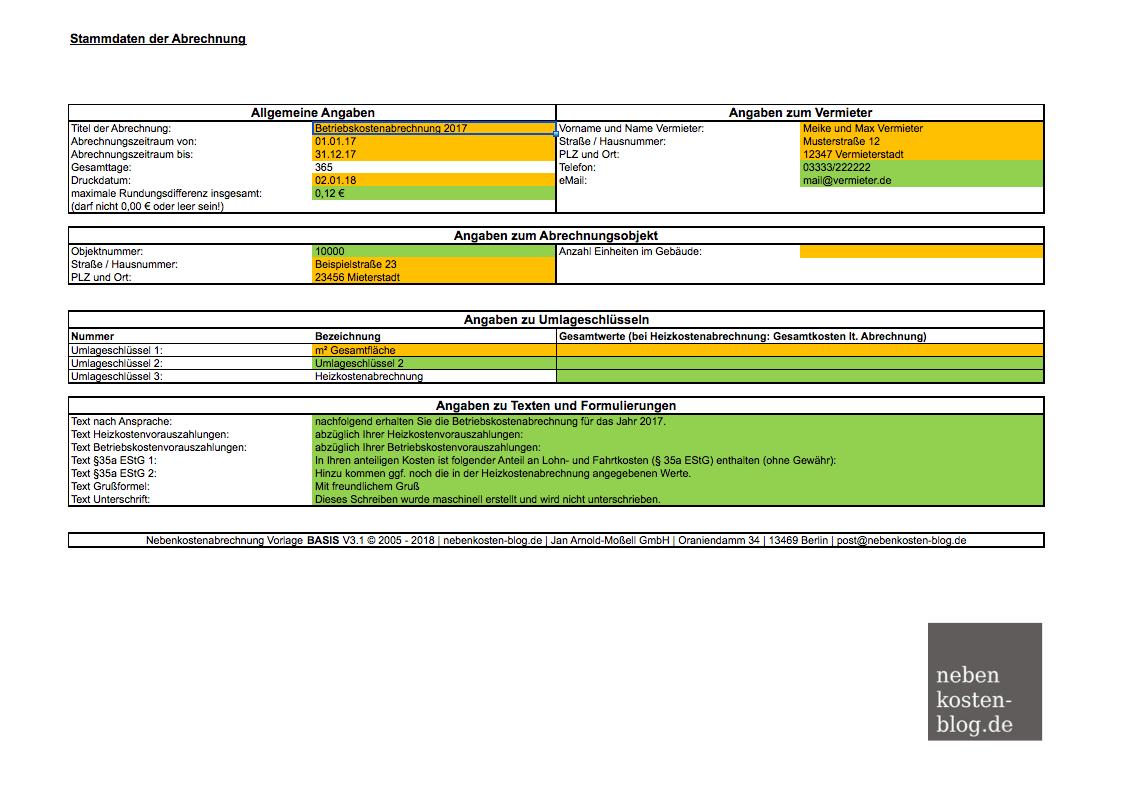 Handbuch Excel Vorlage Nebenkosten Basis Nebenkosten Blog De
