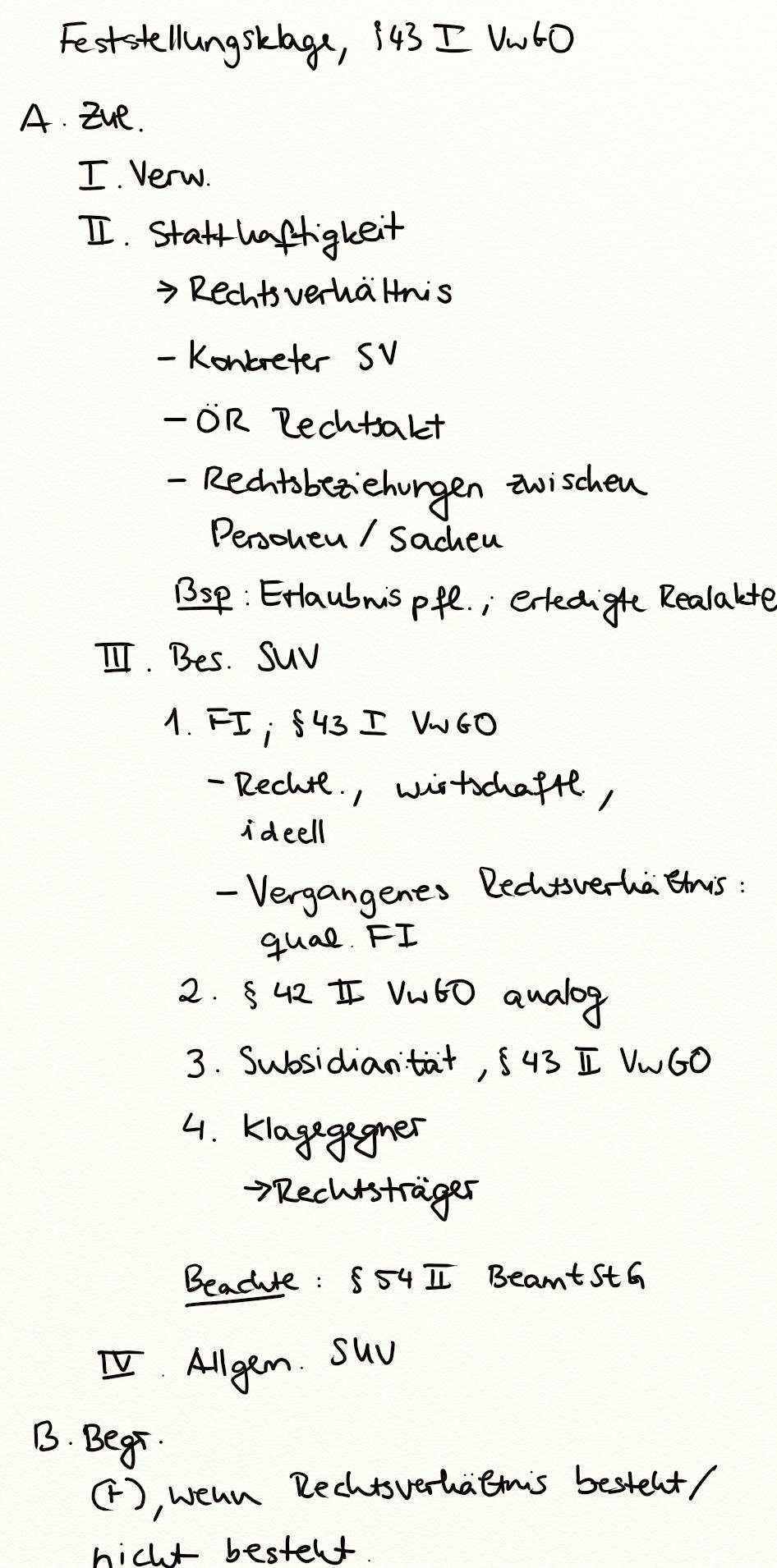 Feststellungsklage 43 I Vwgo Exkurs Jura Online