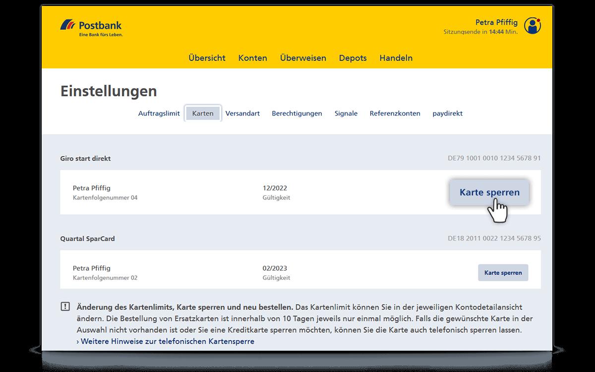 Karten Im Banking Brokerage Sperren Postbank