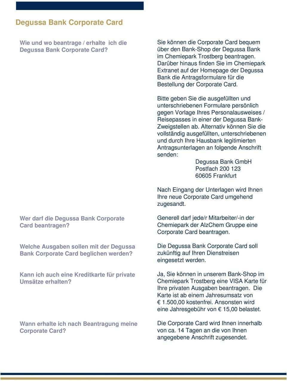 Degussa Bank Corporate Card Faq Liste Pdf Kostenfreier Download