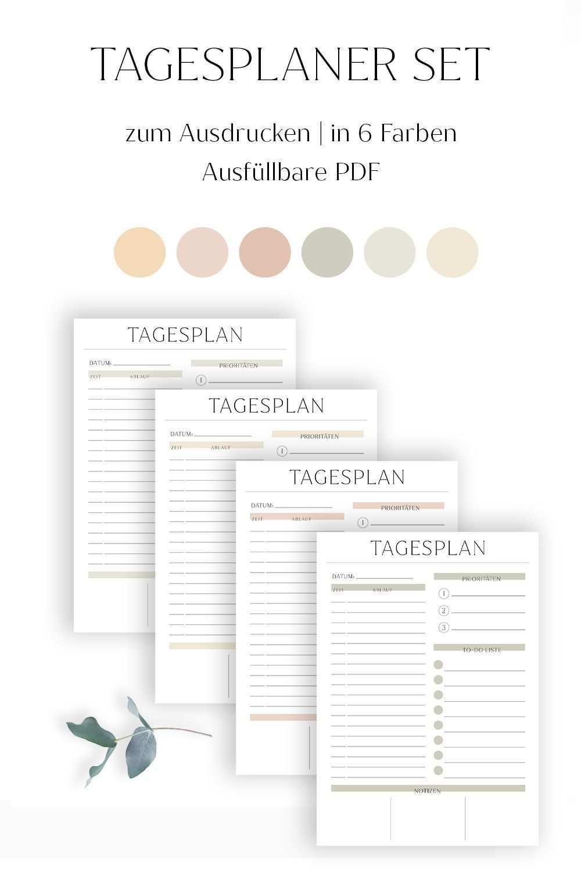Tagesplaner Zum Ausdrucken Pdf Ausfullbar Set Aus 6 Farben Minimalistisch Und Modern Deutsch Tagespl Tagesplan Vorlagen Tagesplan Haushaltsbuch Vorlage