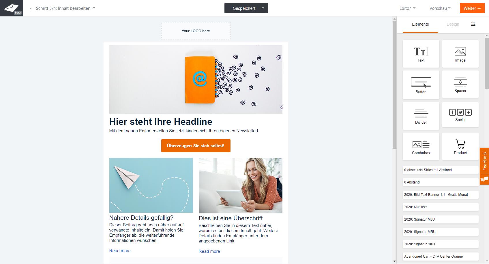 Der Drag Drop Newsletter Editor Fur Ihr E Mail Marketing