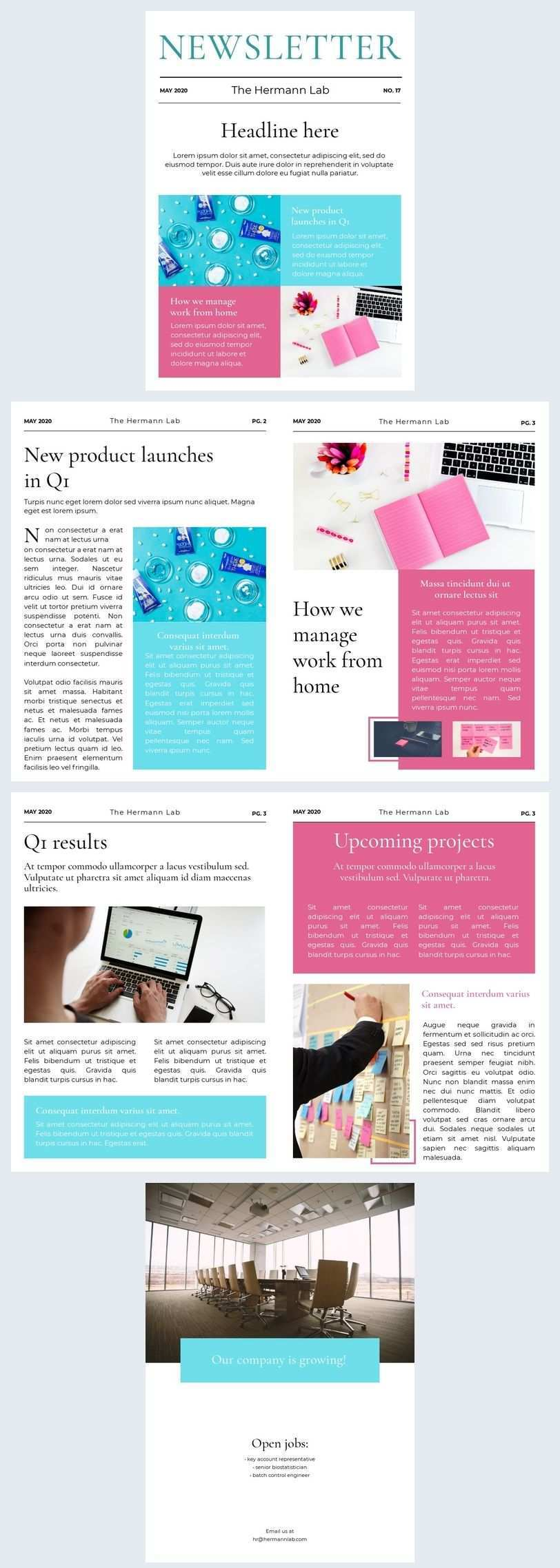 Company Newsletter Template In 2020 Newsletter Templates Company Newsletter Newsletter Design