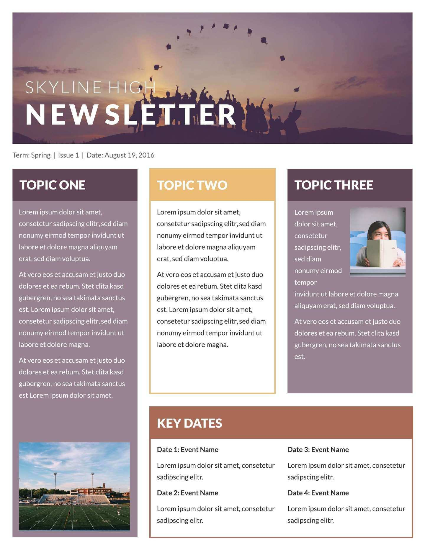 Free Printable Newsletter Templates Examples Lucidpress Newsletter Template Free School Newsletter Template Editable Newsletter Templates
