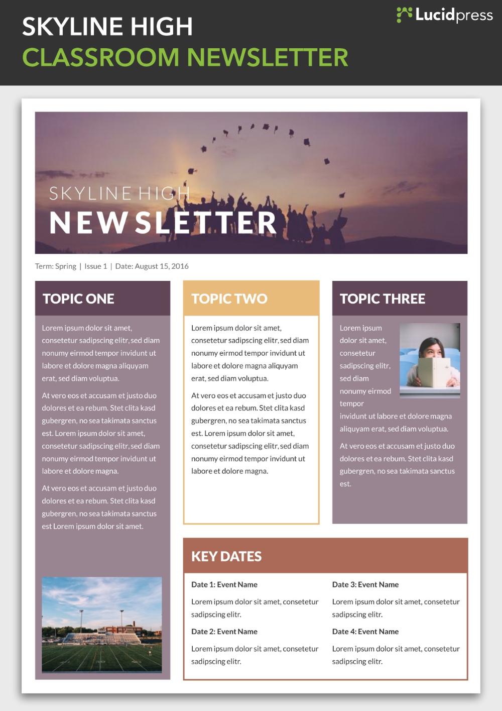 Skyline High Classroom Newsletter Template Newsletter Template Free Classroom Newsletter Classroom Newsletter Template