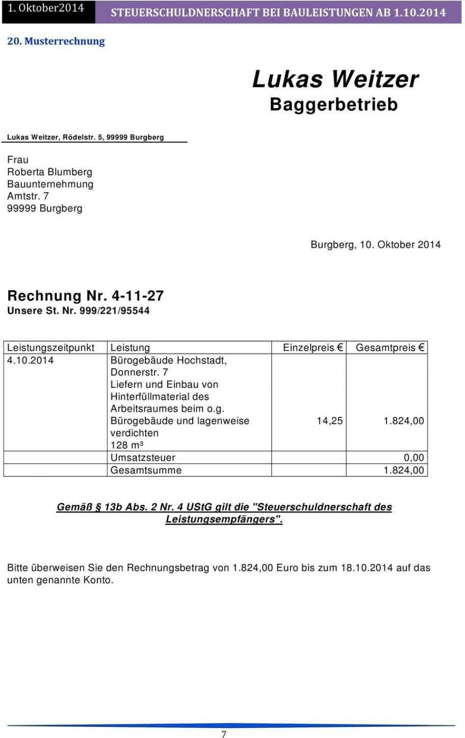 Scrollen Unsere Druckbar Von Vorlage Rechnung Nach 13b Rechnung Vorlage Rechnungsvorlage Vorlagen