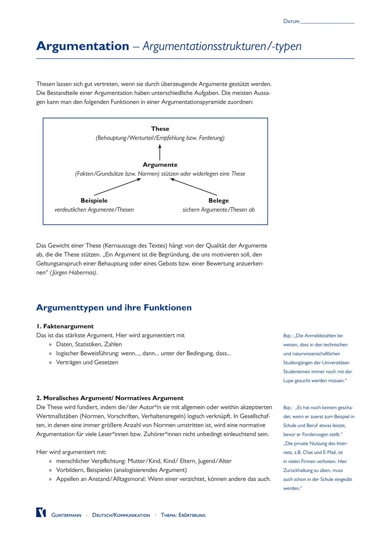02 Argumentationsstrukturen Typen Unterrichtsmaterial Im Fach Deutsch Erorterung Aufgabenstellung Erwachsenenbildung