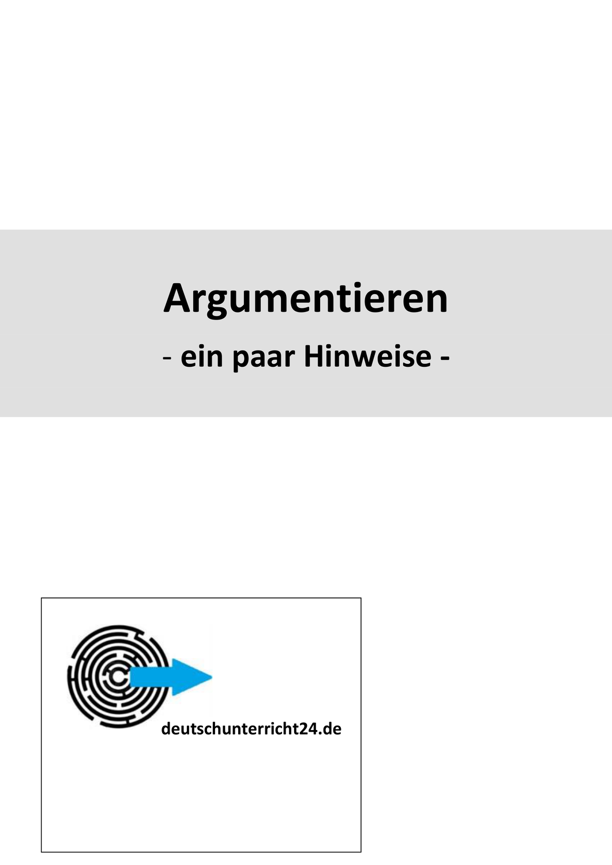 Argumentieren Ein Paar Hinweise Unterrichtsmaterial Im Fach Deutsch In 2020 Unterrichtsmaterial Deutsch Unterricht Fakten