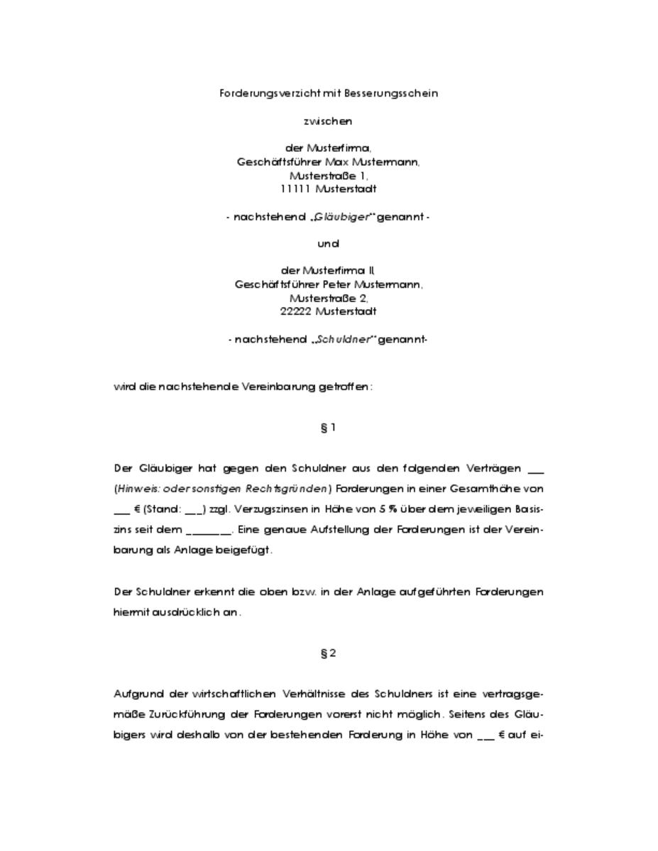 Notarielles Schuldanerkenntnis Gmbh Geschaftsfuhrer Vorlagen De