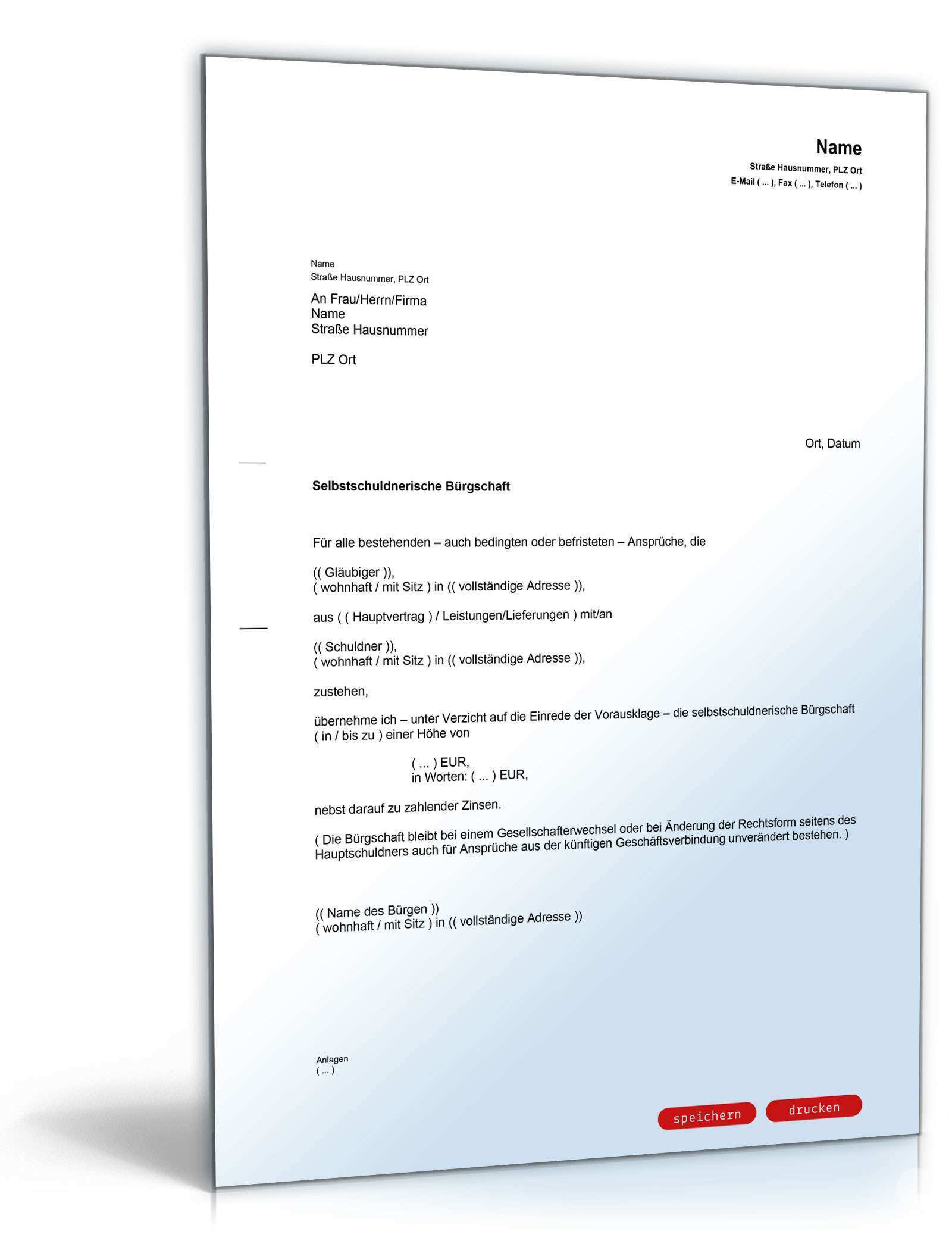 Selbstschuldnerische Burgschaft Als Brief Muster Vorlage Zum Download