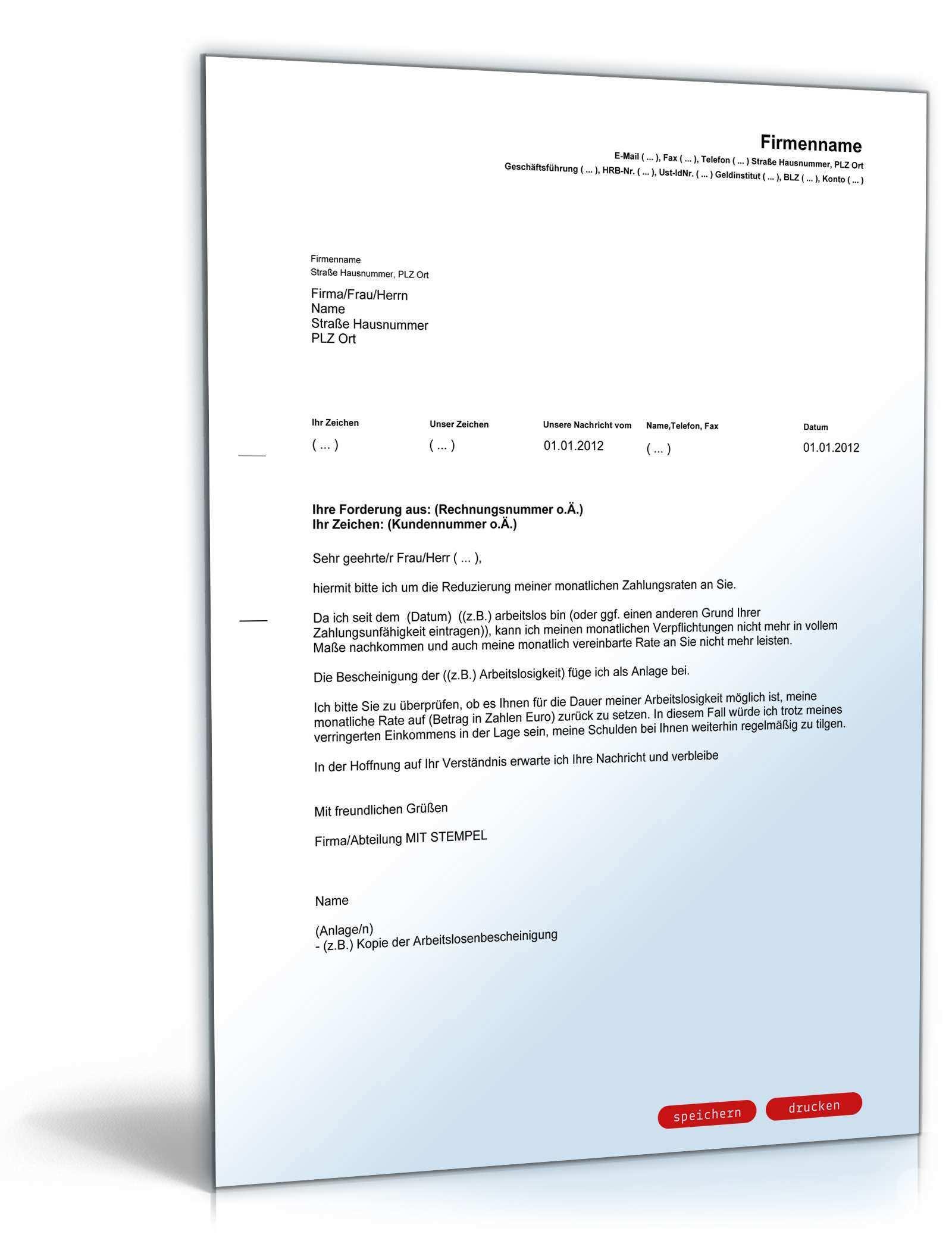 Antrag Auf Reduzierung Der Zahlungsraten Musterbrief Zum Download