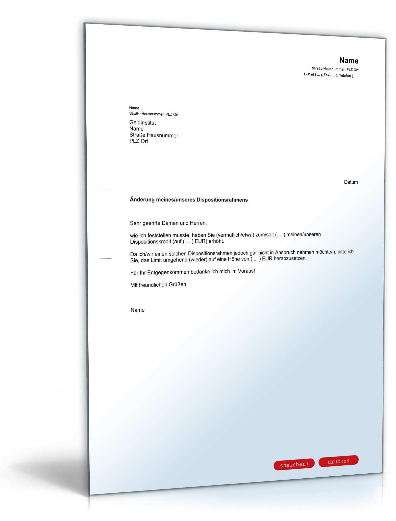 Antrag Senkung Dispositionskredit Vorlage Zum Download