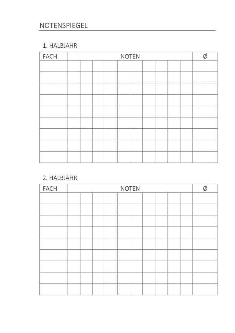 Hausaufgabenheft Notenspiegel Hausaufgaben Planer Stundenplan Ausdrucken Hausaufgaben