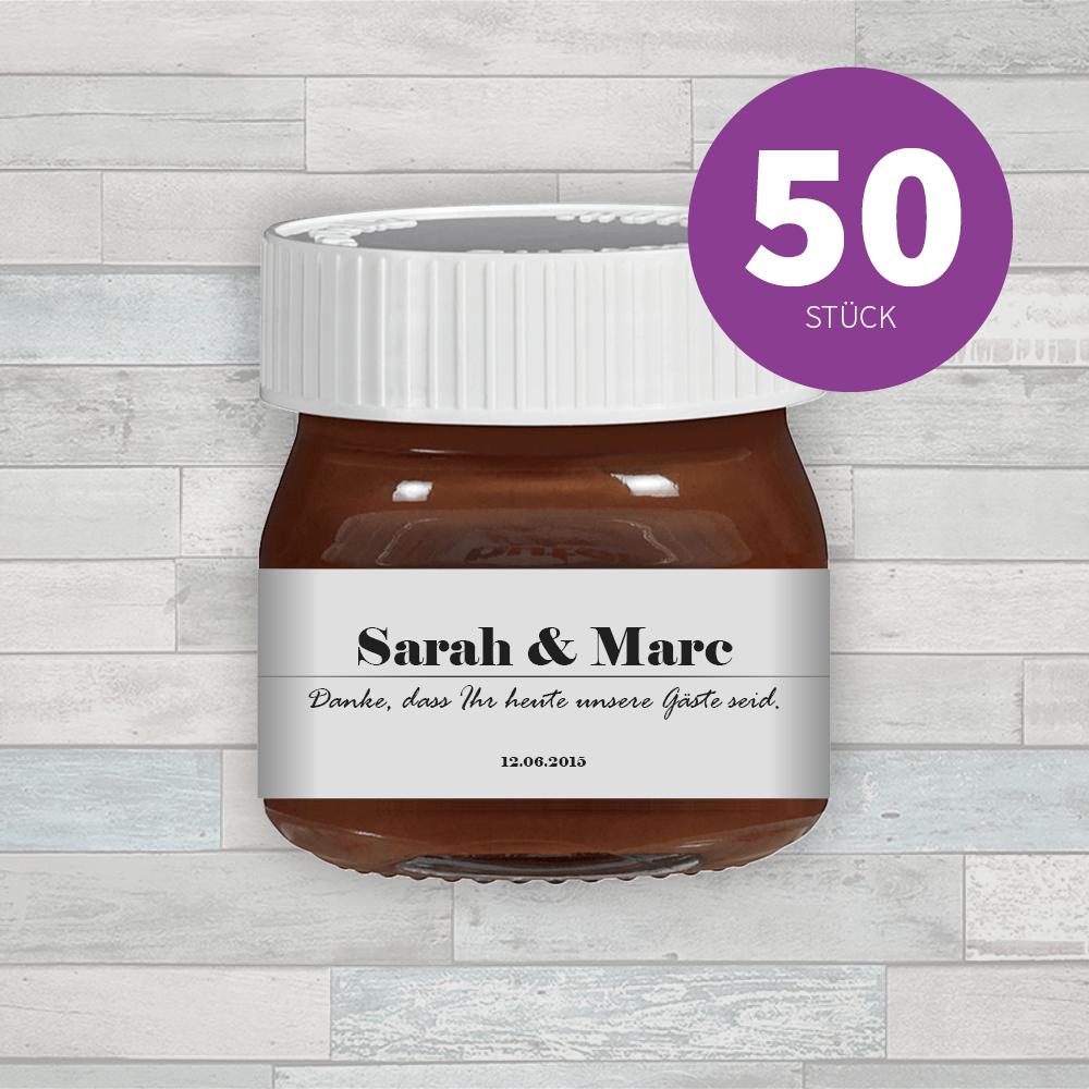 50x Individuelle Etiketten Fur Mini Nutella Geschenke Mit Herz